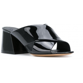Maison Margiela high heel slide sandals in black patent leathr