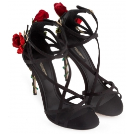 Dolce&Gabbana high heel sandals in black satin