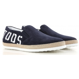 Tod's men's slip-ons shoes in blue suede leather