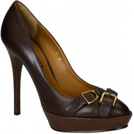 Ralf Lauren heeled pumps with platform in brown leather