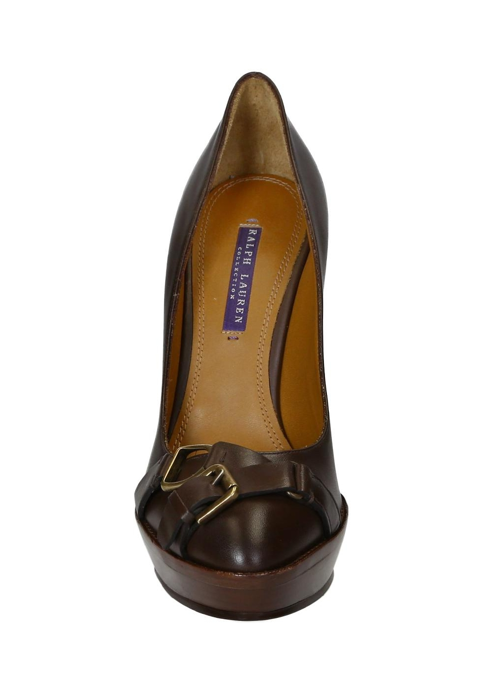 b3ce5bcf037 Ralf Lauren heeled pumps with platform in brown leather - Italian ...