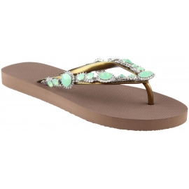 Uzurii women slippers thong sandlals in taupe rubber