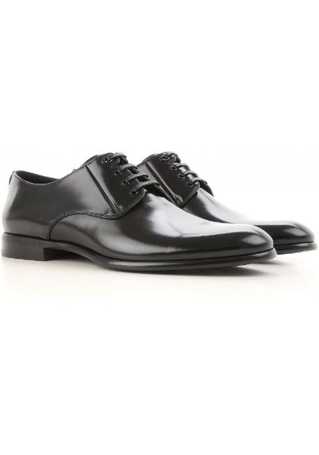 Dolce&Gabbana men's dress lace-up shos black shiny calf leather