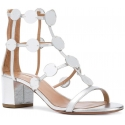 Aquazzura heel sandals in metallic silver leather