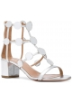 Aquazzura heel sandals in metallic silver leather