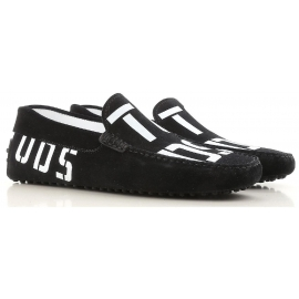 Tod's men's driving moccassins in black suede leather