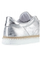 Hogan women's low top sneakers in silver metallic leather
