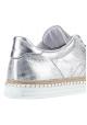 Hogan women's low top sneakers in silver metallic leather
