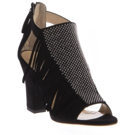 Zanotti heeled sandals in black suede leather