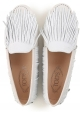 Tod's women's gommino driving moccasins in white suede