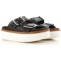 Tod's wedges slade sandals in black leather