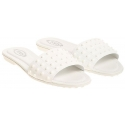 Tod's women's slippers sandals in white patent leather