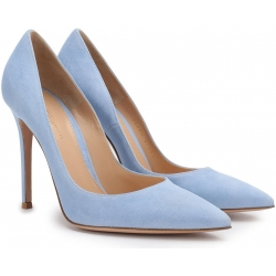 Gianvito Rossi pumps heels in light blue suede leather