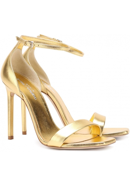 Saint Laurent high heels sandals in gold laminated leather