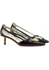 Gucci low heels pumps in black leather with butterfly