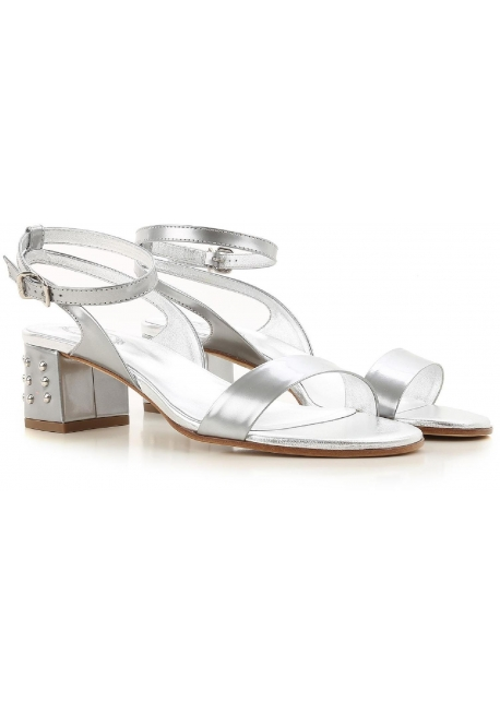 Tod's ankle strap heeled sandals in silver metallic leather