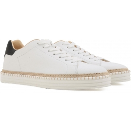 Hogan men's low top sneakers shoes in white leather