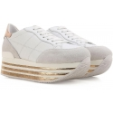 Hogan low top wedges sneakers shoes in white leather