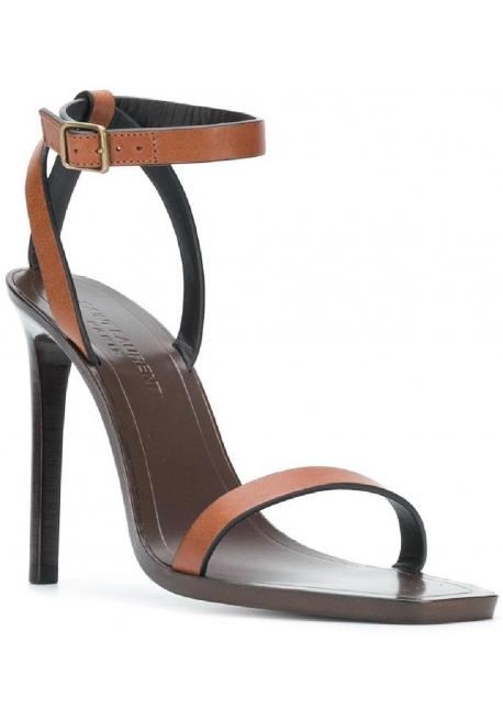 Saint Laurent high heel sandals in brown leather