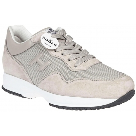 Hogan Interactive men's sneakers shoes in beige suede