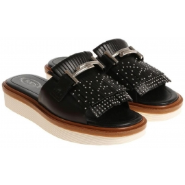 Tod's women's frindges slides in black leather