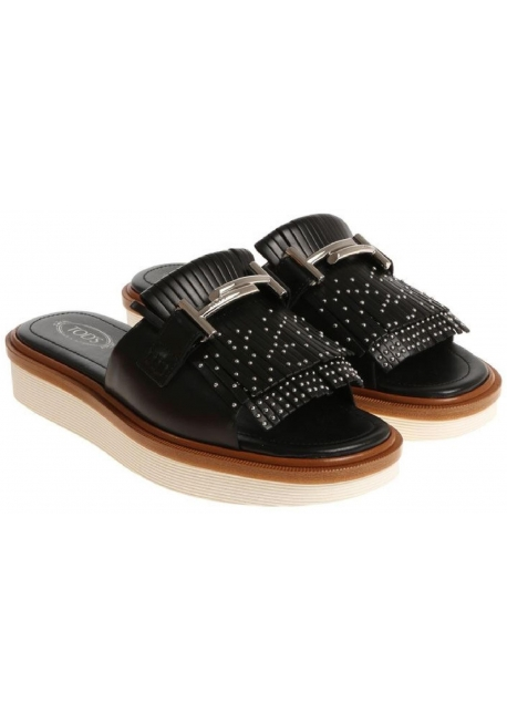 Tod's women's frindges slides in black leather with metal buckle