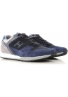 Hogan men's low top sneakers shoes in blue suede
