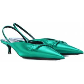 Balenciaga low heels slingback sandals in green satin