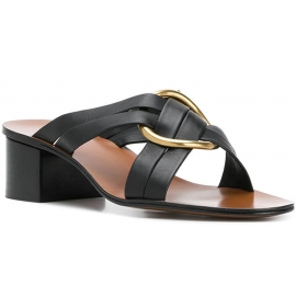 Chloé heels slide sandals in black leather