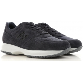 Hogan Interactive men's sneakers in dark blue suede