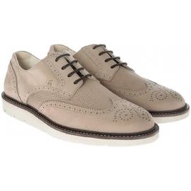 Hogan men's derby brogues lace-up shoes in beige suede