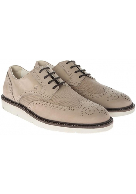 Hogan men's derby brogues lace-up shoes in beige suede