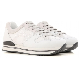 Hogan women's low top sneakers shoes in white leather