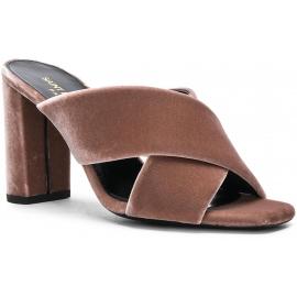 Saint Laurent Loulou high heel sandals in powder velvet