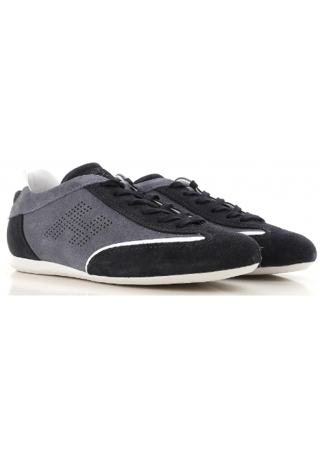 Hogan low men's sneakers in gray and blue suede leather