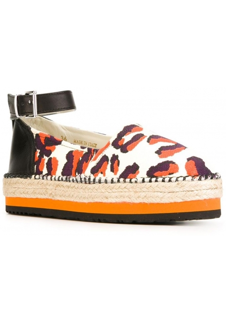 eb0698fc5390 MSGM ankle strap espadrilles in animal print canvas - Italian Boutique
