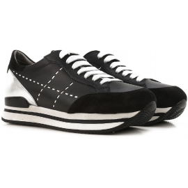 Hogan women's sneakers in black leather and silver metallic with high rubber sole