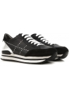 Hogan women's sneakers in black leather and silver metallic in the back with high rubber sole
