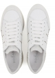 Hogan women's sneakers in white leather and silver metallic with high rubber sole