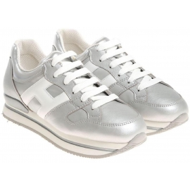 Hogan women sneakers in silver Leather