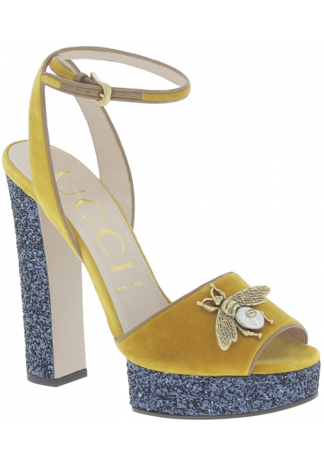 7649e99d0d6c Gucci women s sandals in Yellow Velvet leather with blue platform - Italian  Boutique