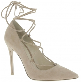 Gianvito Rossi women heels pumps in Hazelnut Suede leather with laces