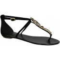 Le Capresi black suede leather jewels t-strap sandals