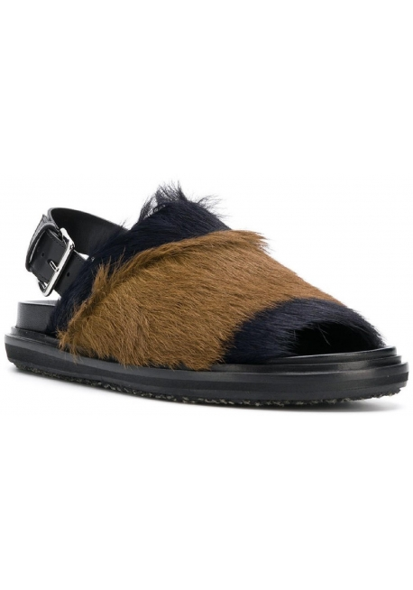 Marni women flat sandals in black and brown Fur with rear buckle
