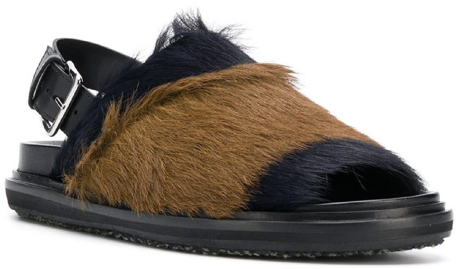 852c45102cb Marni women flat sandals in black and brown Fur with rear buckle ...