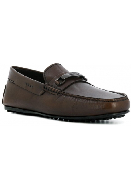 Tod's men's moccasins in Chocolate Leather with metallic buckle