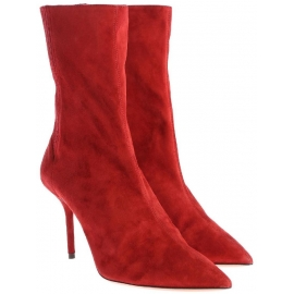 Aquazzura women's midcalf booties in Medium Red Suede leather