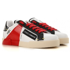 Dolce&Gabbana men's sneakers in white leather with red and black details