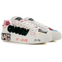 Dolce&Gabbana women's sneakers in white and pink leather queen of love