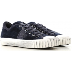Philippe Model women's sneaker in blue calf lethar with white rubber sole